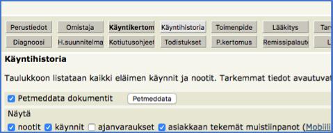 Provet Net -ohjelman käyntihistoria sivulla on Petmeddata-painike.