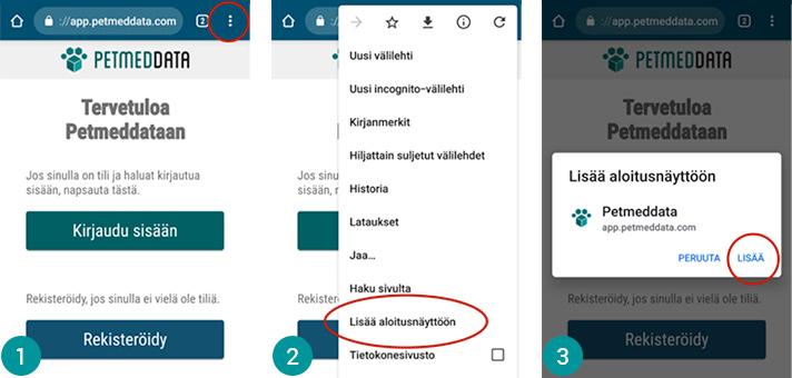 Ohje Android puhelimelle. Lisää aloitusnäyttöön valitsemalla kolmesta pisteestä oikeasta ylänurkasta.